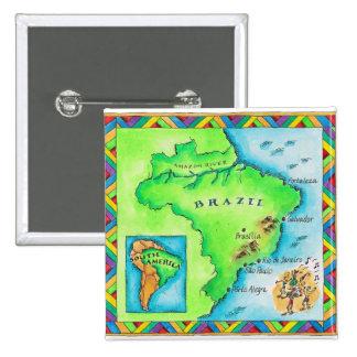 Map of Brazil 15 Cm Square Badge