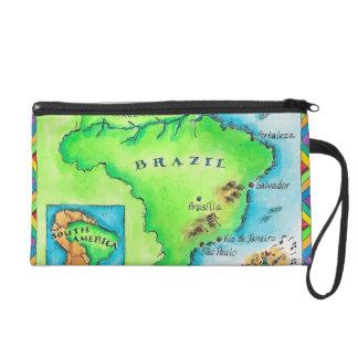 Map of Brazil Wristlet Clutch
