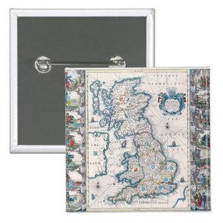 Map of British Isles 2 15 Cm Square Badge
