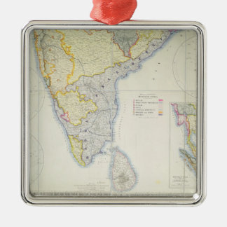 Map of British Southern India, 1872 Metal Ornament
