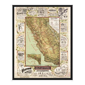 Map of California Roads for Cyclers (1895) Canvas Print
