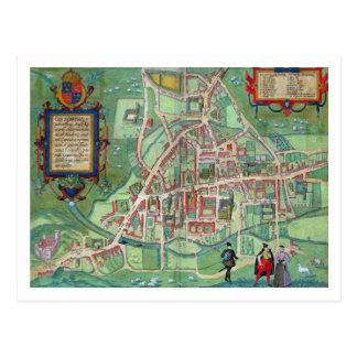Map of Cambridge, from 'Civitates Orbis Terrarum' Postcard