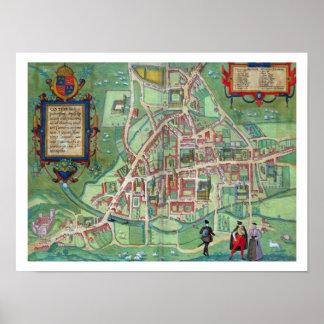 Map of Cambridge, from 'Civitates Orbis Terrarum' Poster