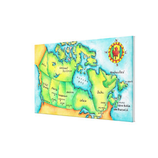 Map of Canada Gallery Wrap Canvas