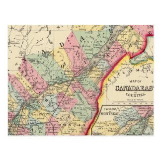 Map Of Canada East In Counties Postcard