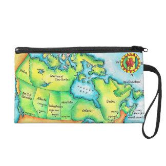 Map of Canada Wristlet Purses