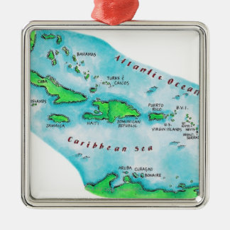 Map of Caribbean Islands Metal Ornament