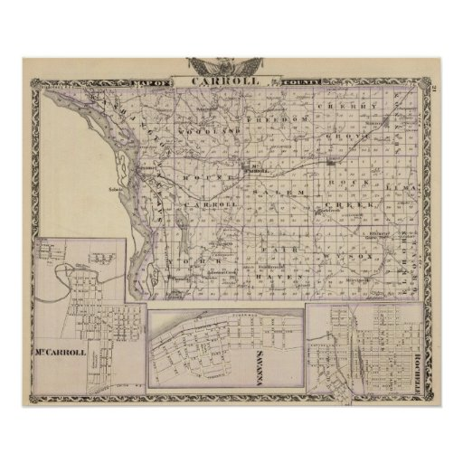 Map of Carroll County, Mt Carroll Poster