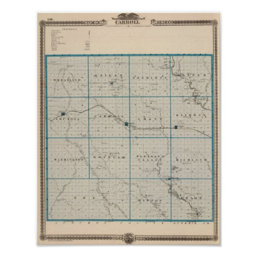 Map of Carroll County, State of Iowa Print