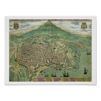 Map of Catania, from 'Civitates Orbis Terrarum' by Poster