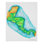 Map of Central America Poster