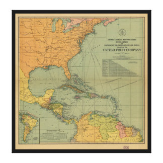 Map of Central America & Surroundings (1909) Canvas Print