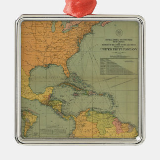 Map of Central America & Surroundings (1909) Metal Ornament