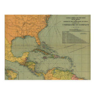 Map of Central America & Surroundings (1909) Postcard