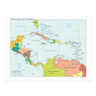 Map of Central America & the Caribbean Postcard