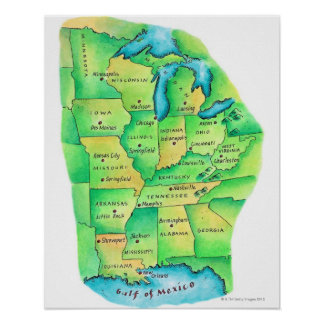 Map of Central United States Poster