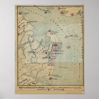 Map of Charleston Harbor Poster