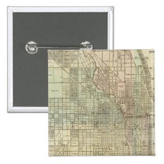 Map Of Chicago 15 Cm Square Badge