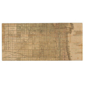 Map Of Chicago Wood USB 2.0 Flash Drive