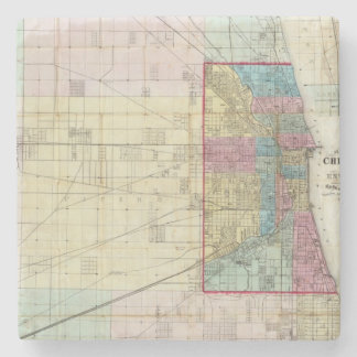 Map of Chicago Stone Coaster