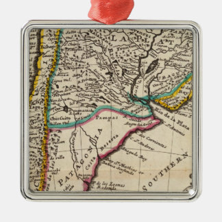 Map of Chili, Patagonia, La Plata Metal Ornament