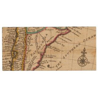 Map of Chili, Patagonia, La Plata Wood USB Flash Drive