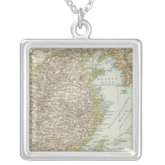 Map of China and Japan Silver Plated Necklace