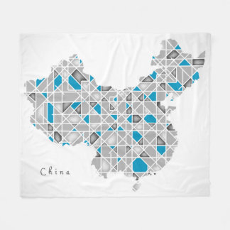 Map of China | Crystal Diamond Style Artwork Fleece Blanket