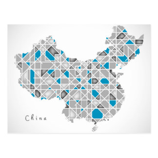 Map of China | Crystal Diamond Style Artwork Postcard