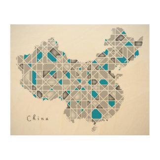 Map of China   Crystal Diamond Style Artwork Wood Wall Decor