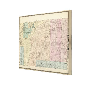 Map of Chippewa County northern part Stretched Canvas Prints