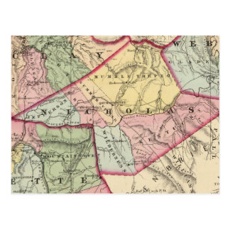 Map of Clay, Webster, Nicholas, Fayette counties Postcard
