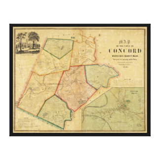 Map of Concord Massachusetts (1852) Stretched Canvas Print