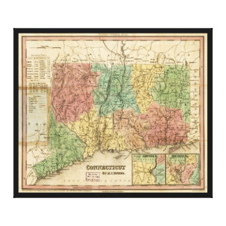 Map of Connecticut (1834) Canvas Print