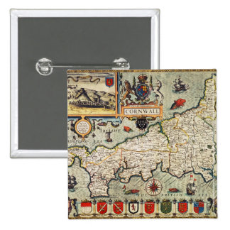 Map of Cornwall 15 Cm Square Badge