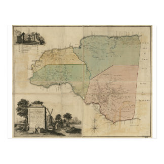 Map of Cornwall Count Jamaica (1763) Postcard