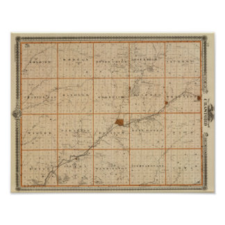 Map of Crawford County, State of Iowa Poster