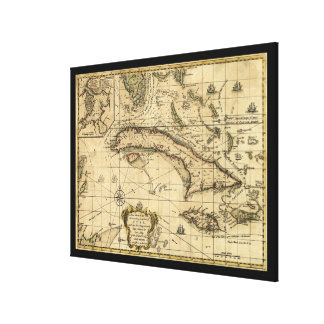 Map of Cuba and Surrounding Seas (1762) Canvas Print