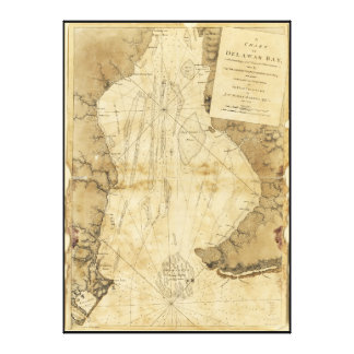 Map of Delaware Bay, Delaware (1779) Stretched Canvas Prints