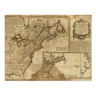 Map of Early America (1780) Postcard