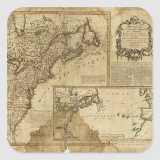 Map of Early America (1780) Square Sticker