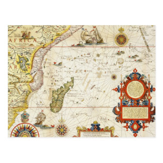 Map of East Africa and Madagascar, 1596 (hand colo Postcard