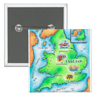 Map of England 15 Cm Square Badge