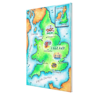 Map of England Stretched Canvas Print