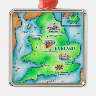 Map of England Metal Ornament