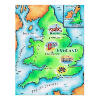 Map of England Postcard