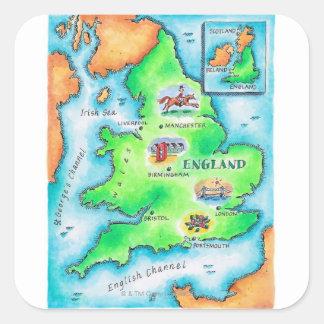 Map of England Square Sticker