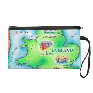 Map of England Wristlet Purses