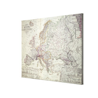 Map of Europe, 1841 Stretched Canvas Print