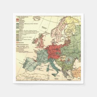 Map of Europe Vintage Antique Disposable Serviettes